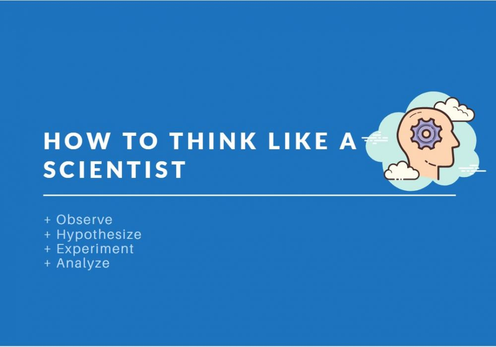 the process of thinking like a scientist: observing, hypothesizing, experimenting and analyzing.
